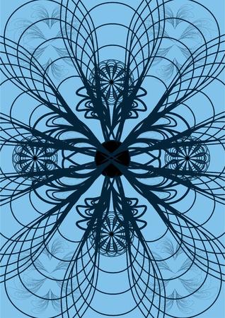 Los patrones de piezas de metal, soldadura, sobre un fondo azul con el ornamento. Vectores