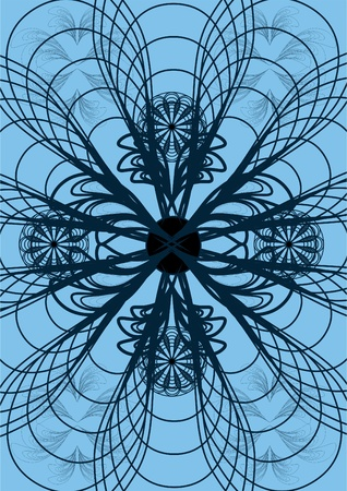 Patterns of metal pieces, soldering, on a blue background with ornament. Illustration
