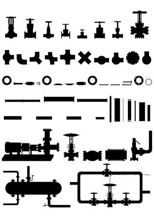 Todo tipo de aparatos, suministros, equipo de procesamiento de petr�leo y gas. Vectores