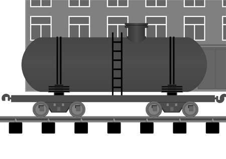 sleepers: Tank car on a moving background of the building on the tracks.  Illustration