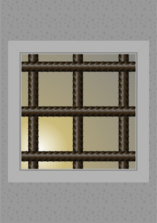 calamity: Window with bars, the prisons of the camera, with a dim light. Illustration