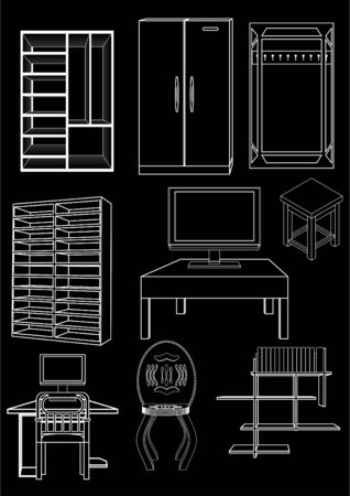 Variety of furniture and household appliances, white outline on black background.