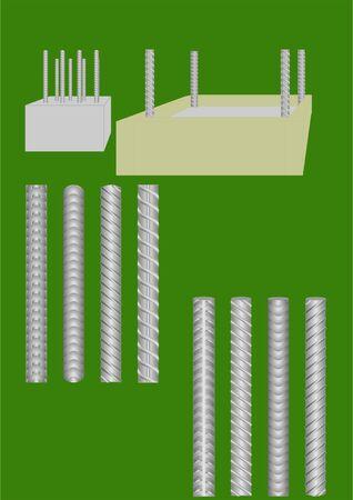 diameter: Asta di metallo utilizzato nella costruzione, con diversi modelli. Vettoriali