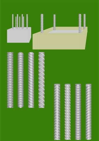 dowel: Metal rod used in construction, with different patterns. Illustration