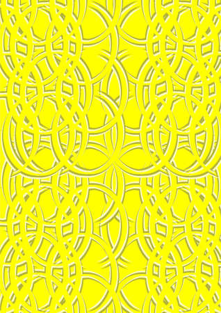 The pattern of circles with the volume on a yellow background