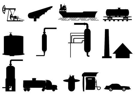 Di estrazione, trasporto, raffinazione del petrolio, contorno, su uno sfondo bianco