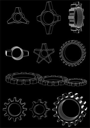 teeths: The version of a wheel of the mechanism, the different size, and a configuration, black background