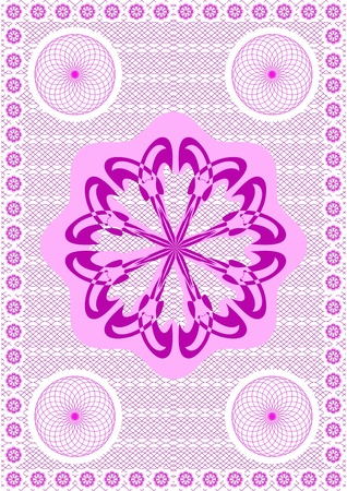 An embroidery a lace, dark pink on a white background. Vector