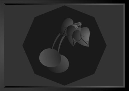 hexahedron: Black and white image cherries , in the twilight, on a dark background