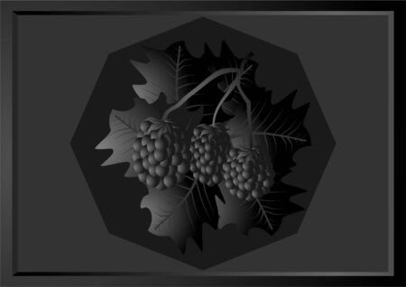 Black and white image blackberries , in the twilight, on a dark background  Vector