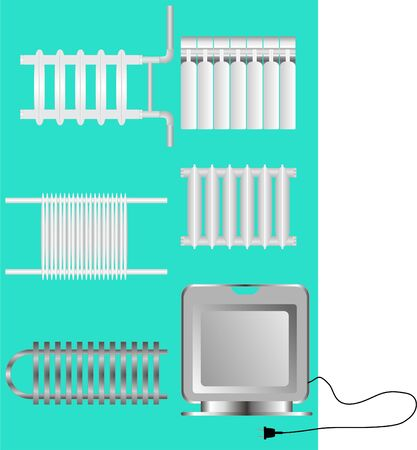 Types of heaters for heating, on a green background