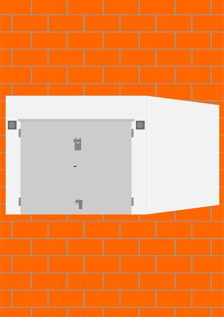 hinges: Standard garage for storage of personal vehicles on a brick background