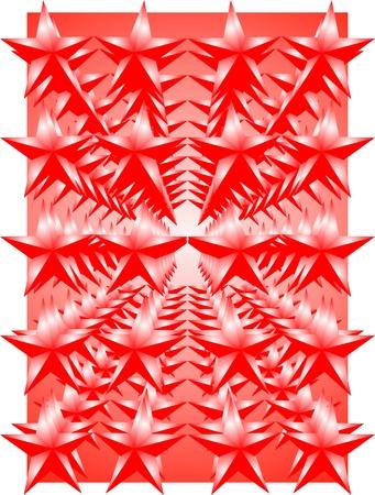 estrellas cinco puntas: Ornamento de las rojas estrellas de cinco puntas sobre un fondo rojo Vectores