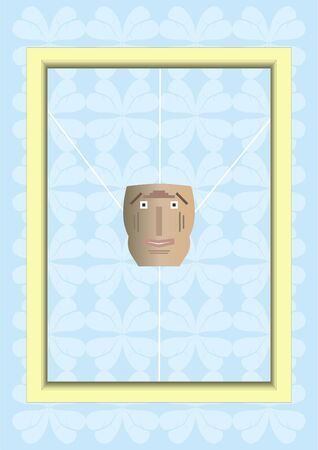 Caricature of a face in a picture frame, attached to filament, a light blue background  Vector