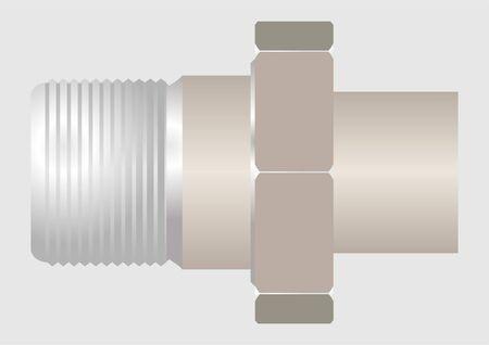 El dispositivo de conexi�n de la tuber�a, tales como americano, con un hilo adicional Vectores