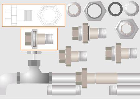 Dispositivo per unire tubi metallici senza saldatura, il cosiddetto americano