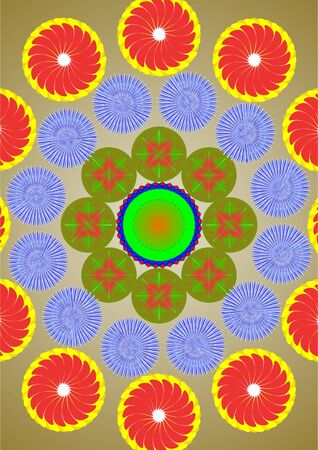 A few circles of flowers on a green background