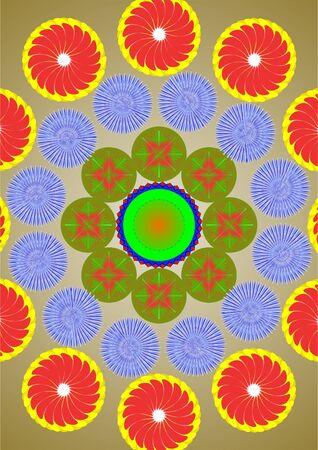 A pocos c�rculos de flores sobre un fondo verde Vectores