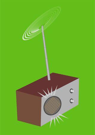 Simple radio durante todos estos a�os, sobre un fondo verde