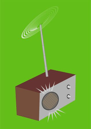Simple radio these many years, on a green background   Illustration