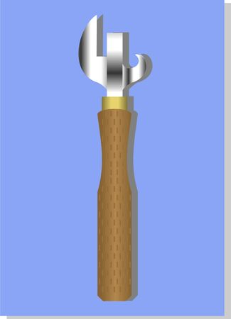 Device for opening cans, on a blue background   Illustration