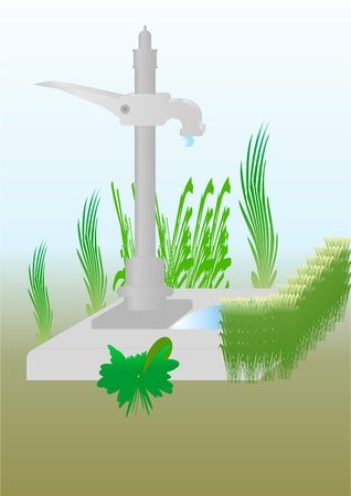 Device for lifting water from the ground, in an outdoor setting  Illustration