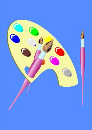 color mixing: Palette with paints and brushes on the blue background  Illustration