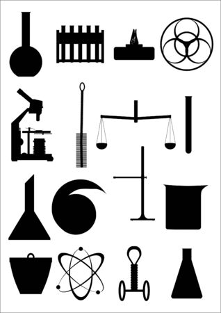 Necessary items for the chemical laboratory in the contour  Stock Vector - 16240308
