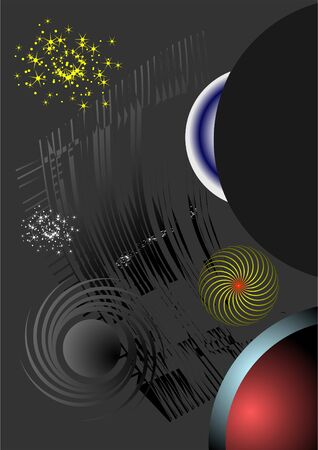 craving: Image of various space objects on a black background  Illustration