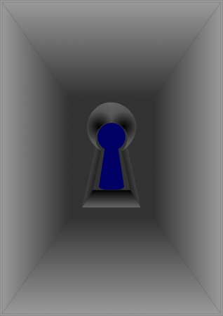 Keyhole located close to the eyes, on a blue background