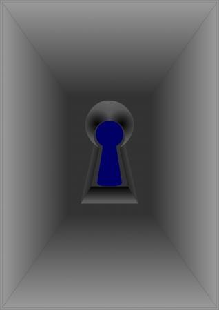 Ojo de la cerradura situado cerca de los ojos, sobre un fondo azul