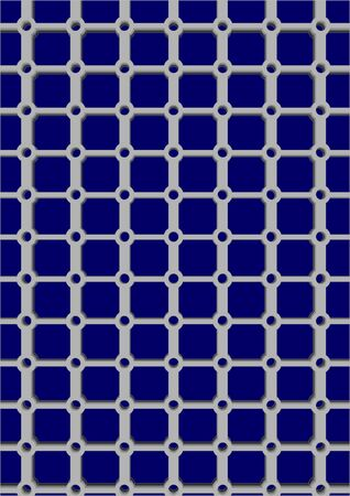 Plastic grid with openings for weaving on a blue background  Illustration