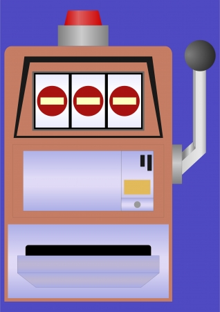 losing money: Device for gambling with money on a blue background   Illustration