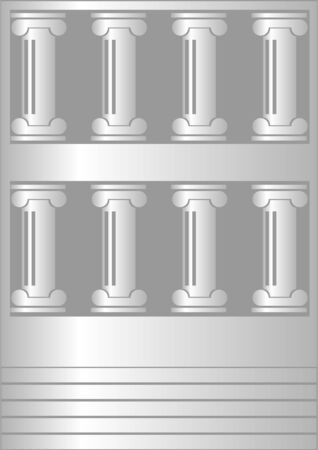 The front of the old building, on a gray background  Stock Vector - 17553744