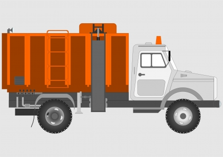 garbage collection: Special vehicles for garbage collection on a gray background   Illustration