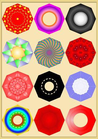 Octaedro con diferentes dibujos, colores, patrones sobre un fondo beige