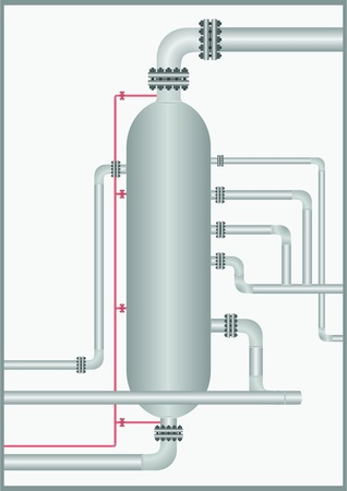 Of the pipeline with a column including fire extinguisher line on a light gray background