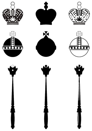 Three types of images royal attributes on white background