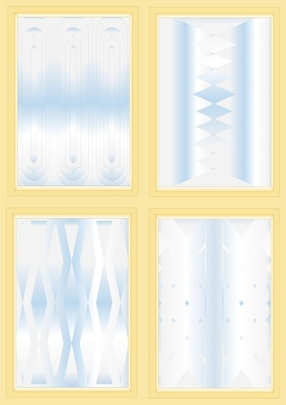 embossment: Variety of corrugated glass under a different pattern, with a light blue background
