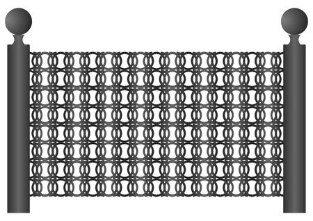 haltbarkeit: Teil des Zauns aus Eisen auf einem wei�en Hintergrund