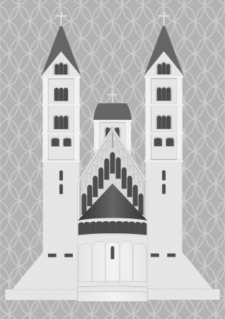 Castillo medieval sobre un fondo gris con rejilla decorativa
