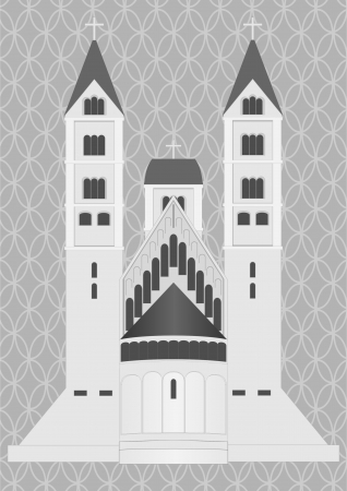 Medieval castle on a gray background with a decorative grille  Illustration