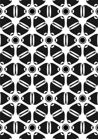 Tracery in the form of a wavy abstract line and different geometrical figures on white background
