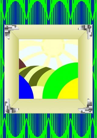 originalidad: El marco de la pintura para montar en las esquinas, el papel tapiz de fondo