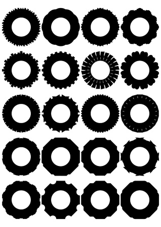 Rubber tires for truck wheels, on a white background, in outline form  Illustration