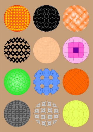 Image pattern on the sphere in different directions in a convex form  Illustration