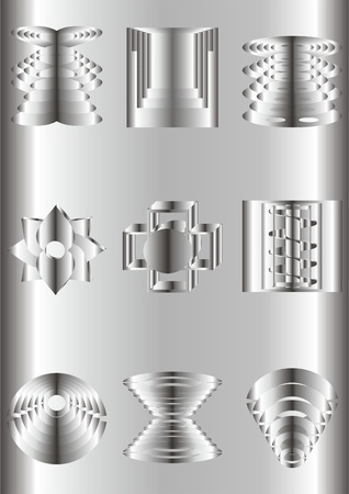 configurations: Metal chrome shapes of different configurations, on a metal background