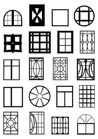 scarp: Different types of window frames, black contour on a white background