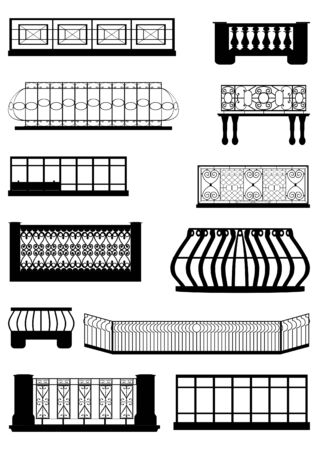 The decoration of balconies, contour in black, on a white background   Illustration