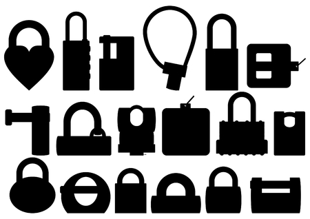 hinges: Types of padlocks, black contour on a white background